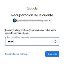 modificar contraseña de gmail