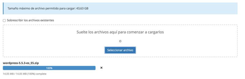 subir archivo wordpress en tu hosting