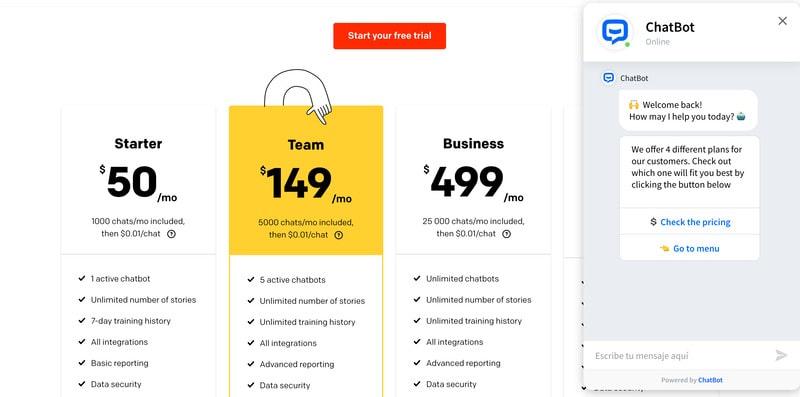 chatbot en paginas de pago