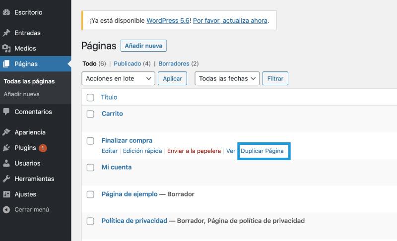 duplicar pagina con plugins